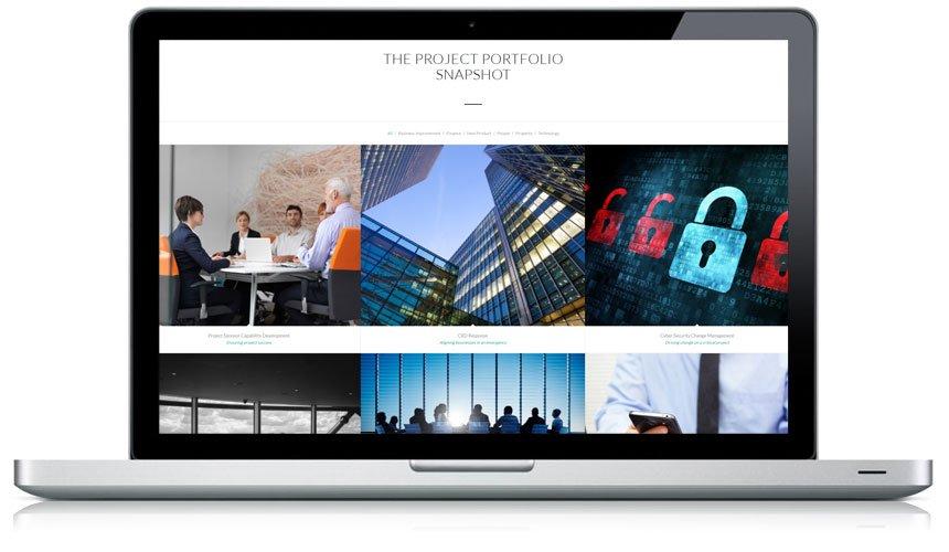 Janellis Strategic Project Portfolio Visual Tools displayed on laptop
